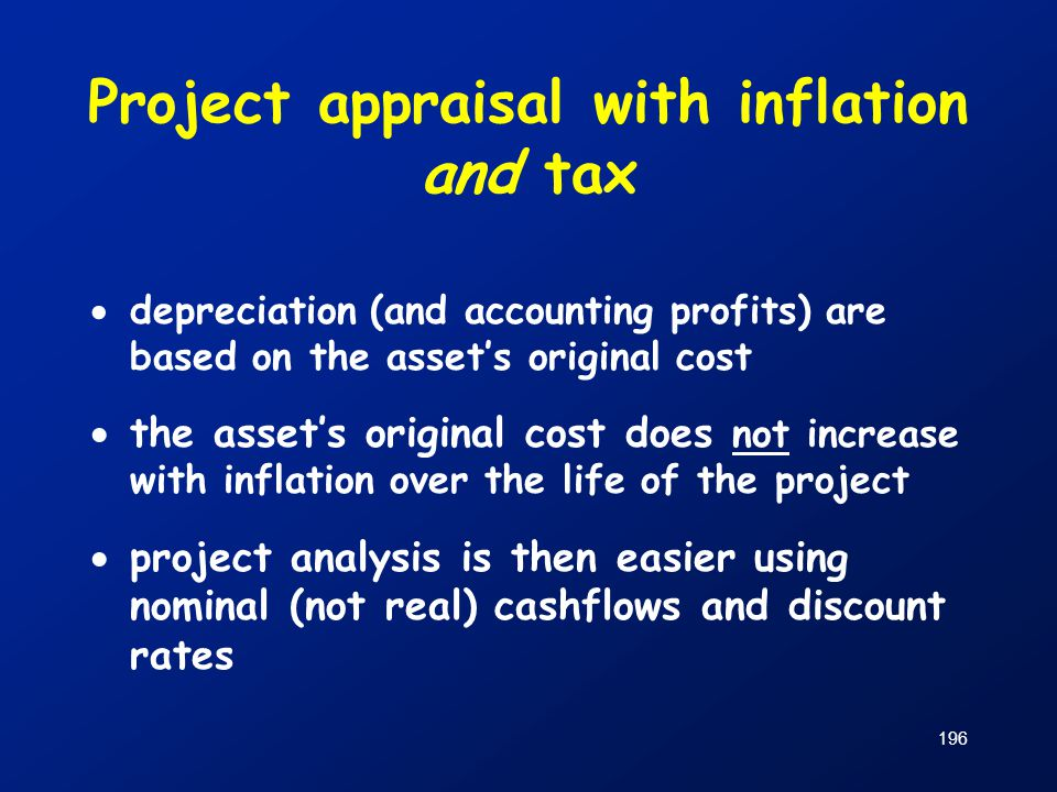 Project appraisal with inflation and tax