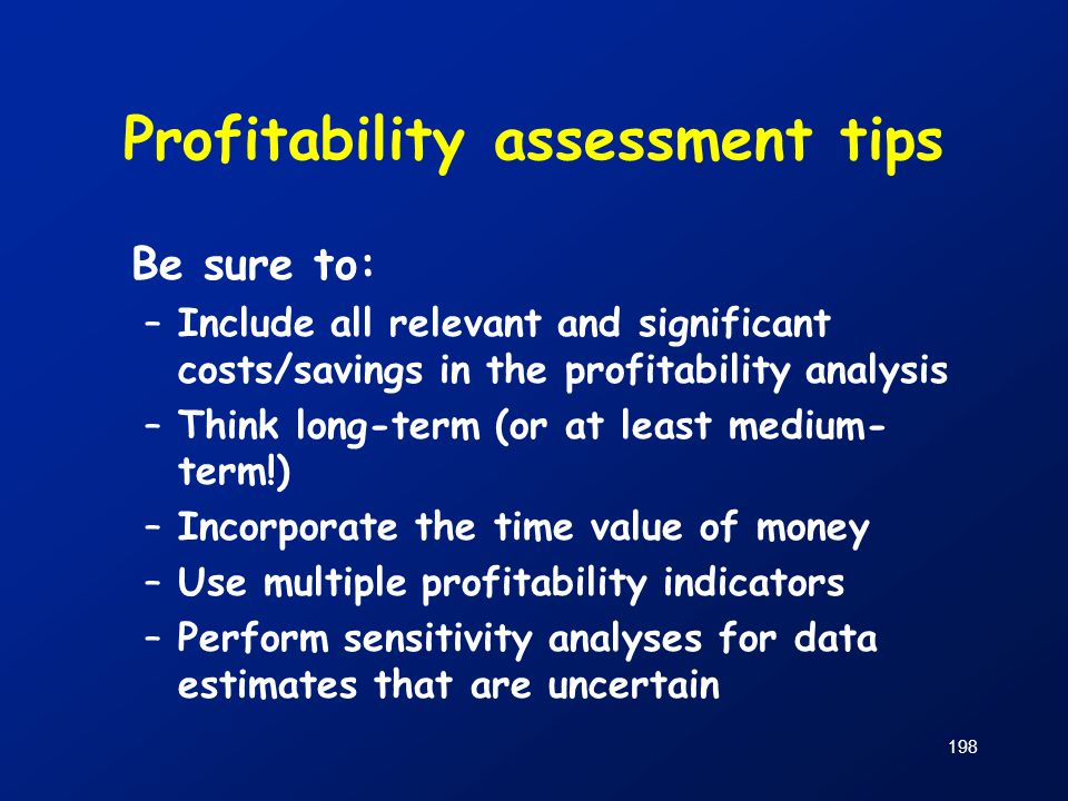 Profitability assessment tips