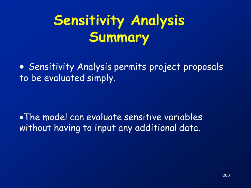 Sensitivity Analysis Summary