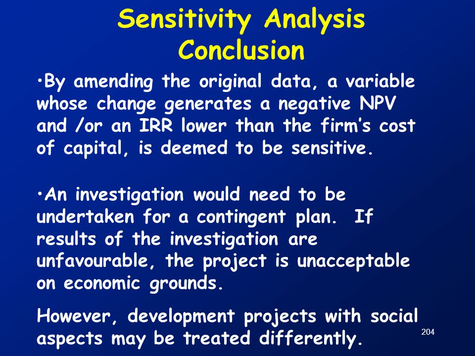 Sensitivity Analysis Conclusion