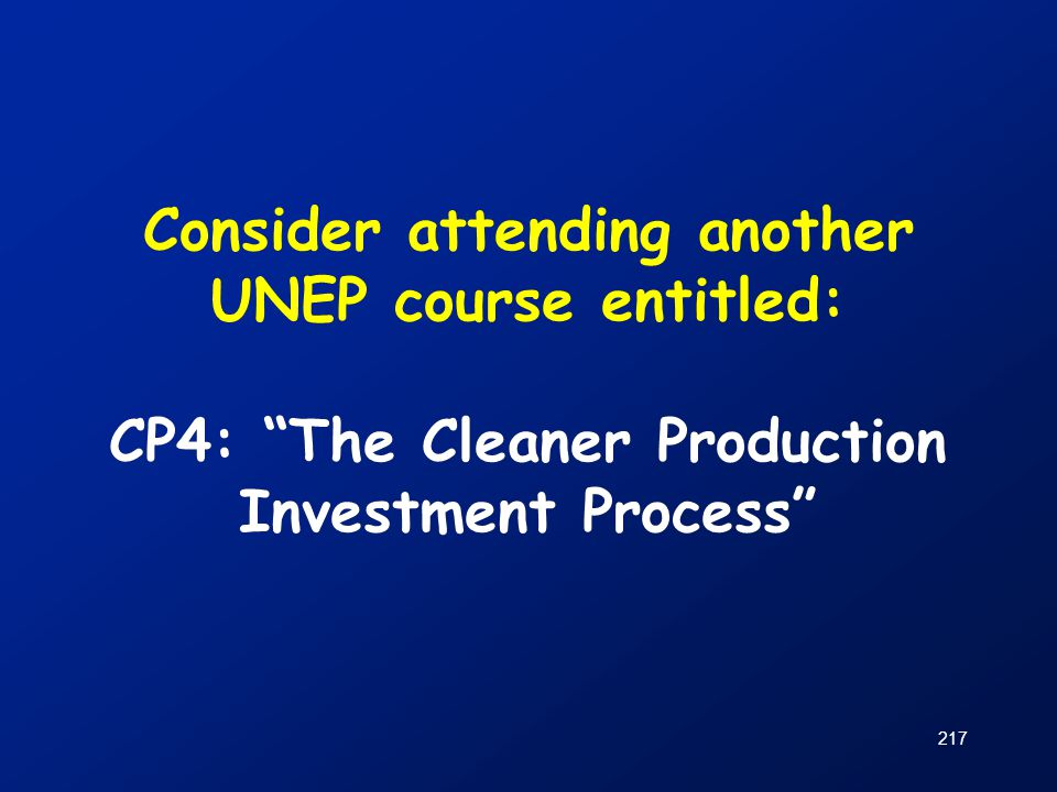 Consider attending another UNEP course entitled: CP4: The Cleaner Production Investment Process