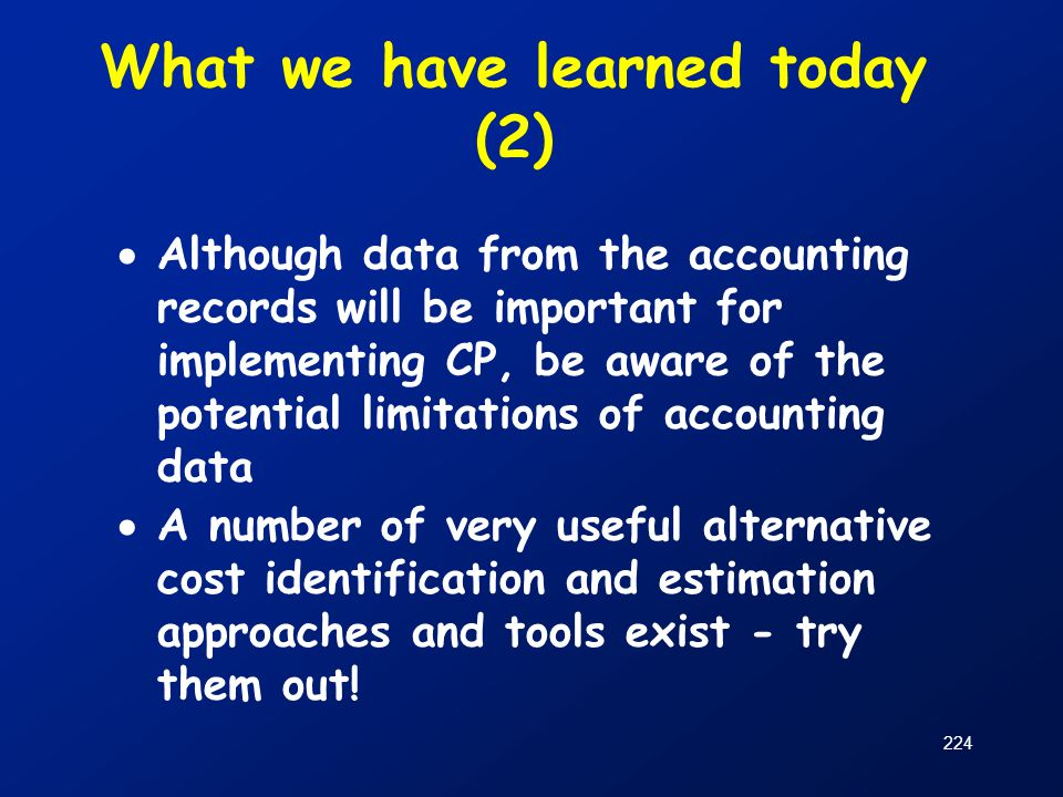 What we have learned today (2)