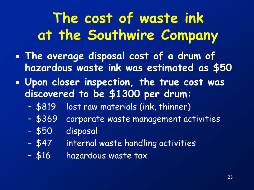 The cost of waste ink at the Southwire Company
