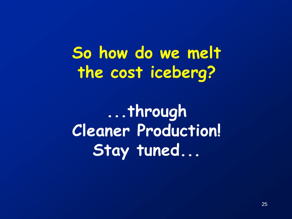 So how do we melt the cost iceberg. through Cleaner Production