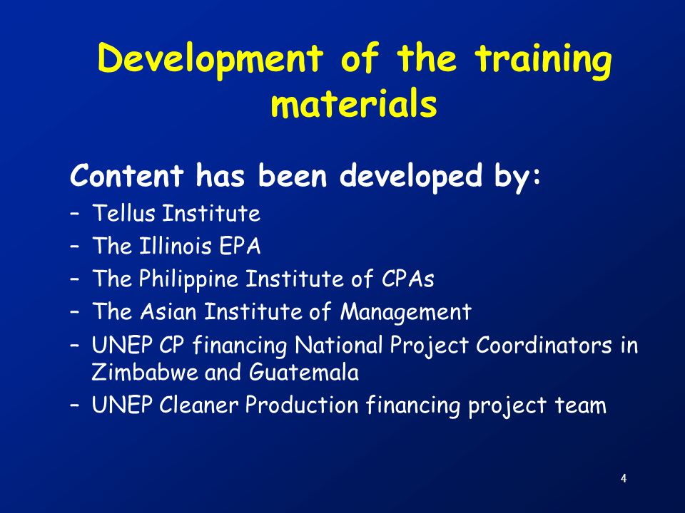 Development of the training materials