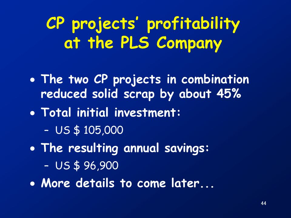 CP projects' profitability at the PLS Company