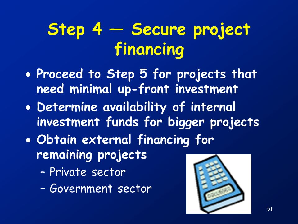 Step 4 — Secure project financing