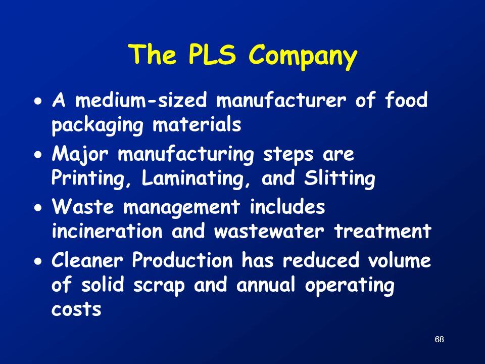 The PLS Company A medium-sized manufacturer of food packaging materials. Major manufacturing steps are Printing, Laminating, and Slitting.