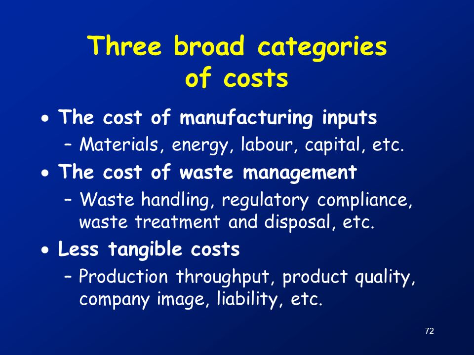 Three broad categories of costs