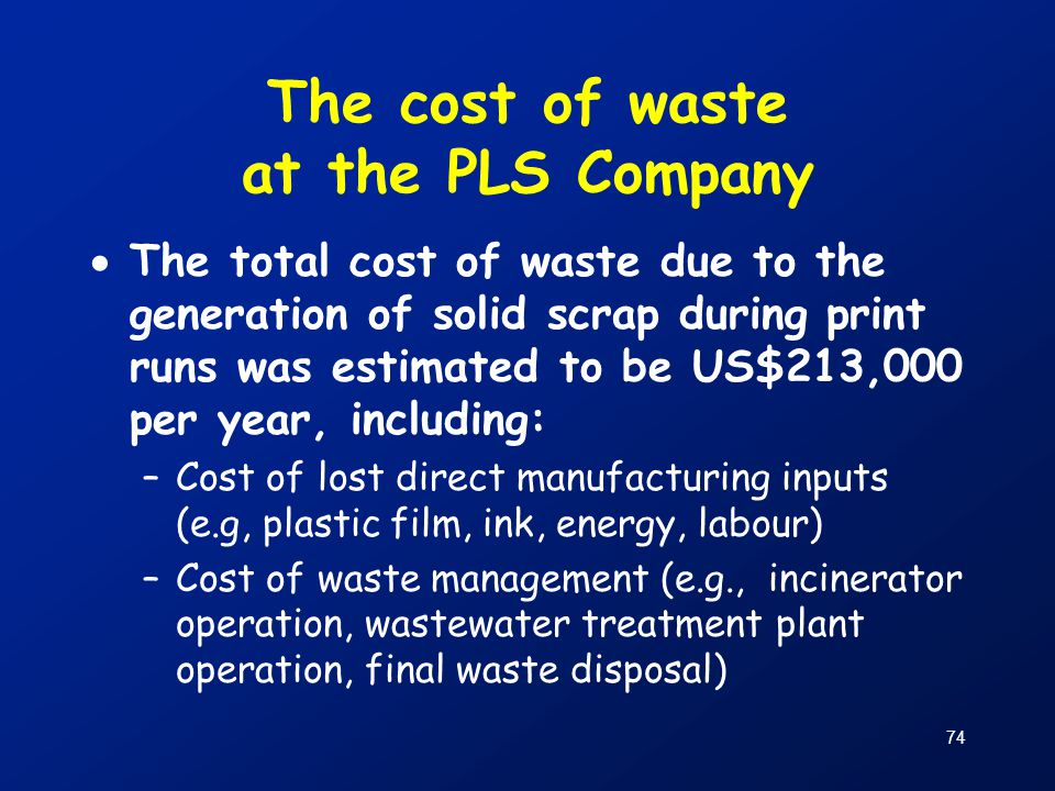The cost of waste at the PLS Company