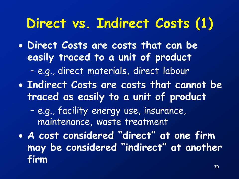 Direct vs. Indirect Costs (1)