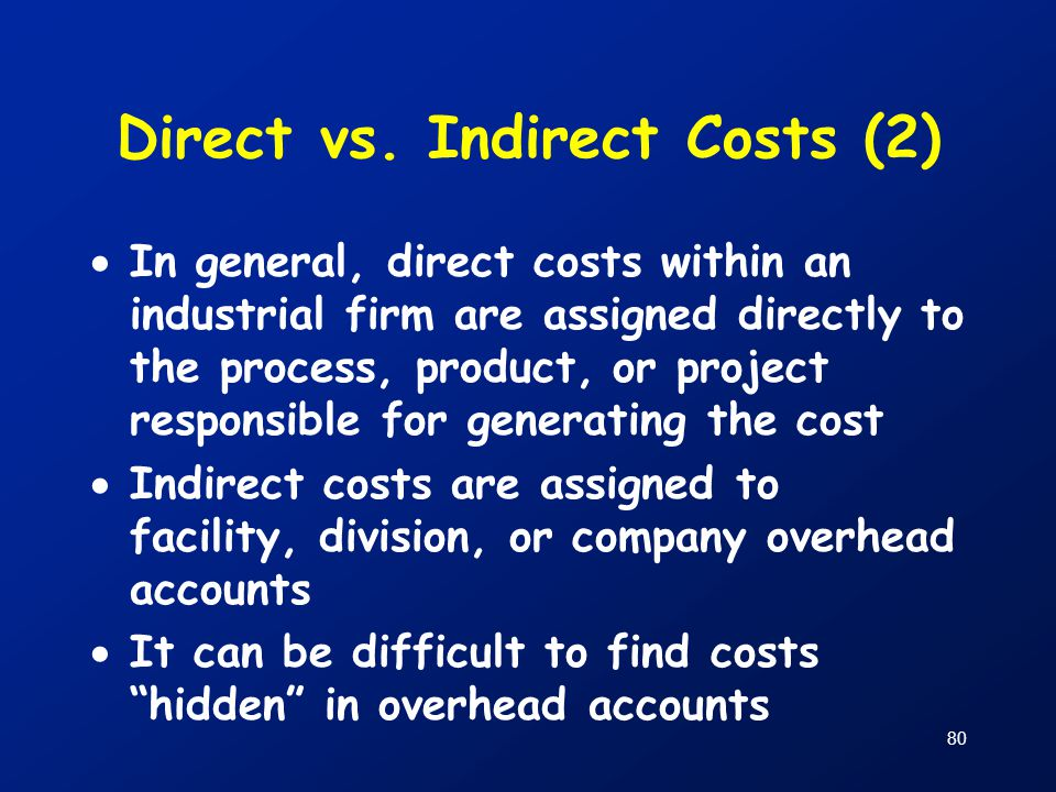 Direct vs. Indirect Costs (2)