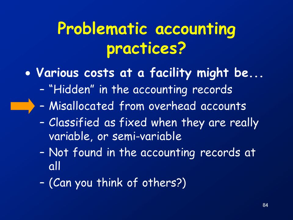 Problematic accounting practices