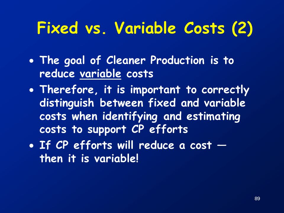 Fixed vs. Variable Costs (2)