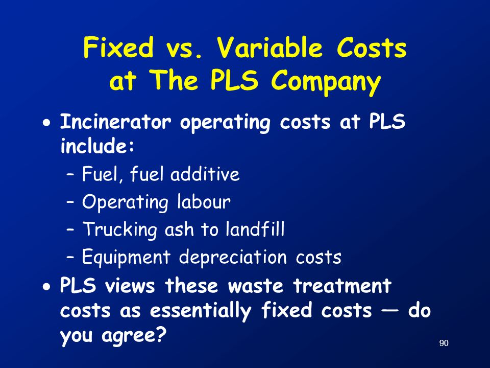Fixed vs. Variable Costs at The PLS Company