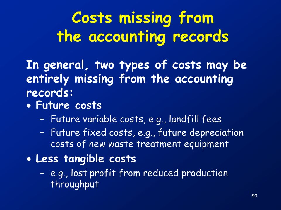 Costs missing from the accounting records