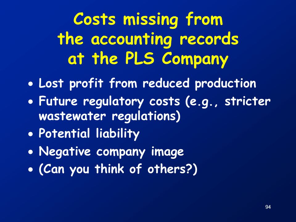 Costs missing from the accounting records at the PLS Company
