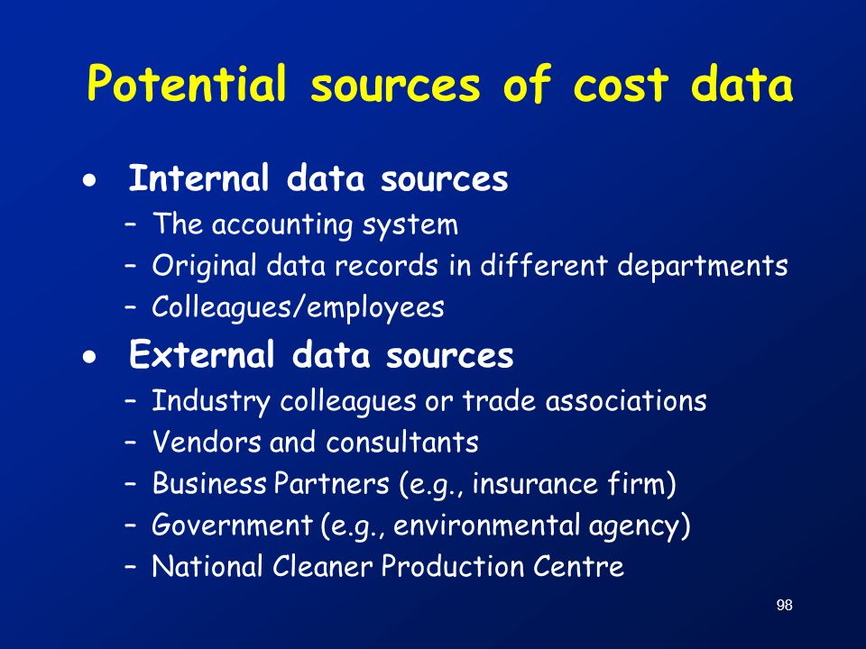 Potential sources of cost data