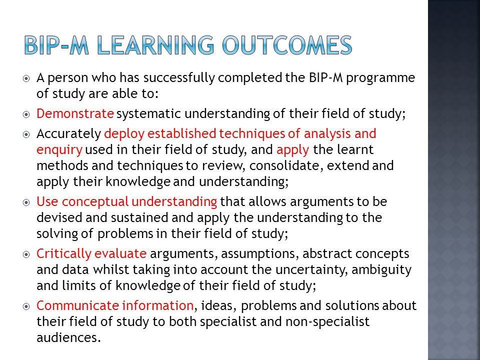 BIP-M Learning OUTcomes