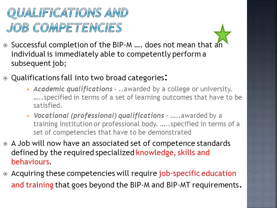 qualifications and job competencies