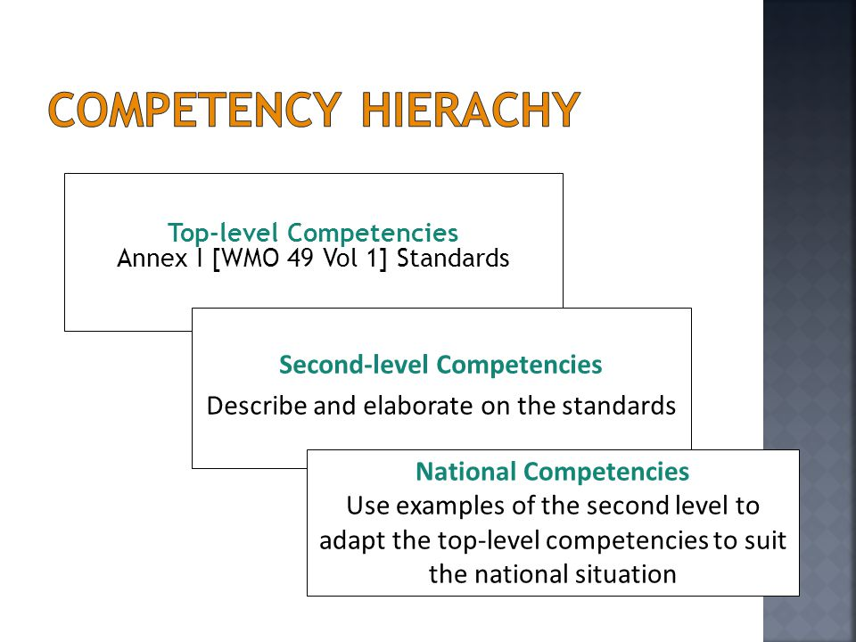 Competency Hierachy Second-level Competencies