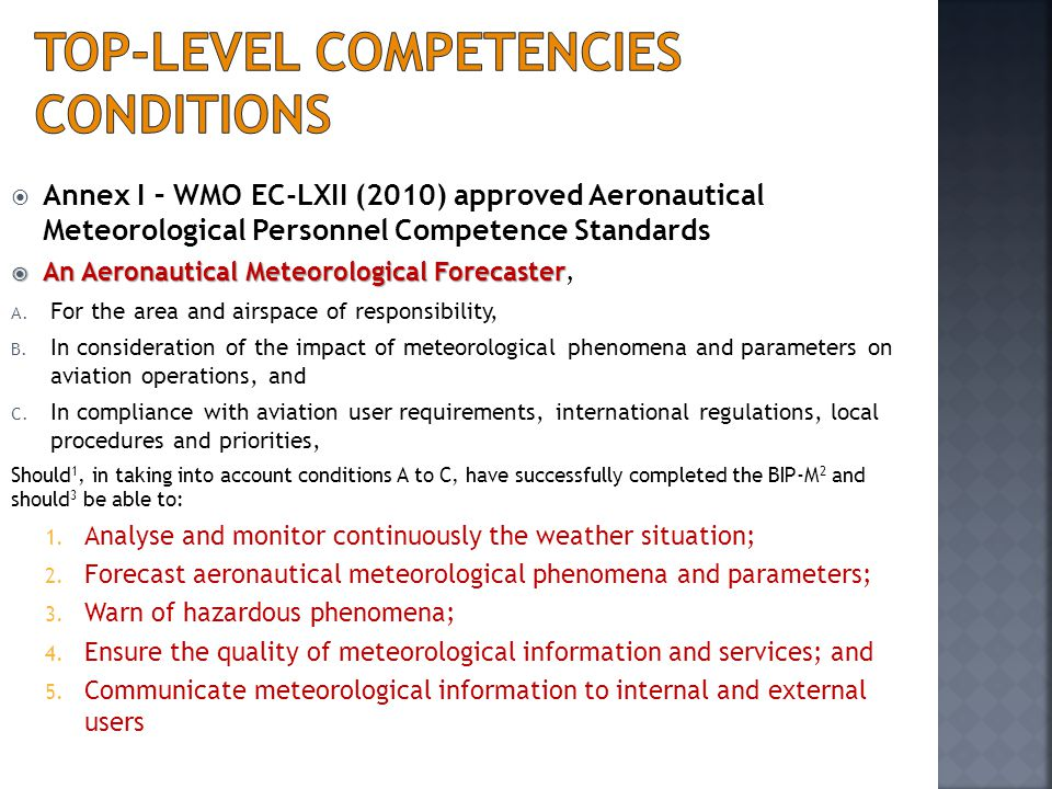 Top-level competencies Conditions