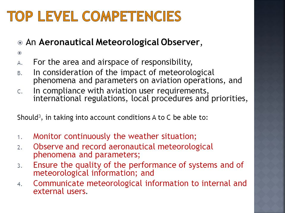 Top level competencies