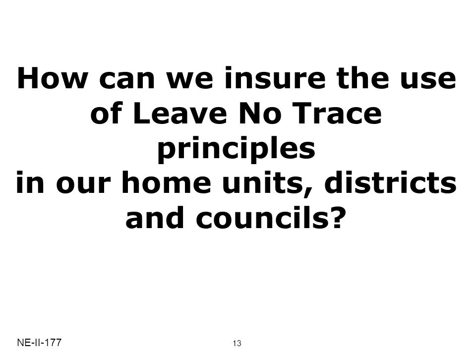 How can we insure the use of Leave No Trace principles in our home units, districts and councils