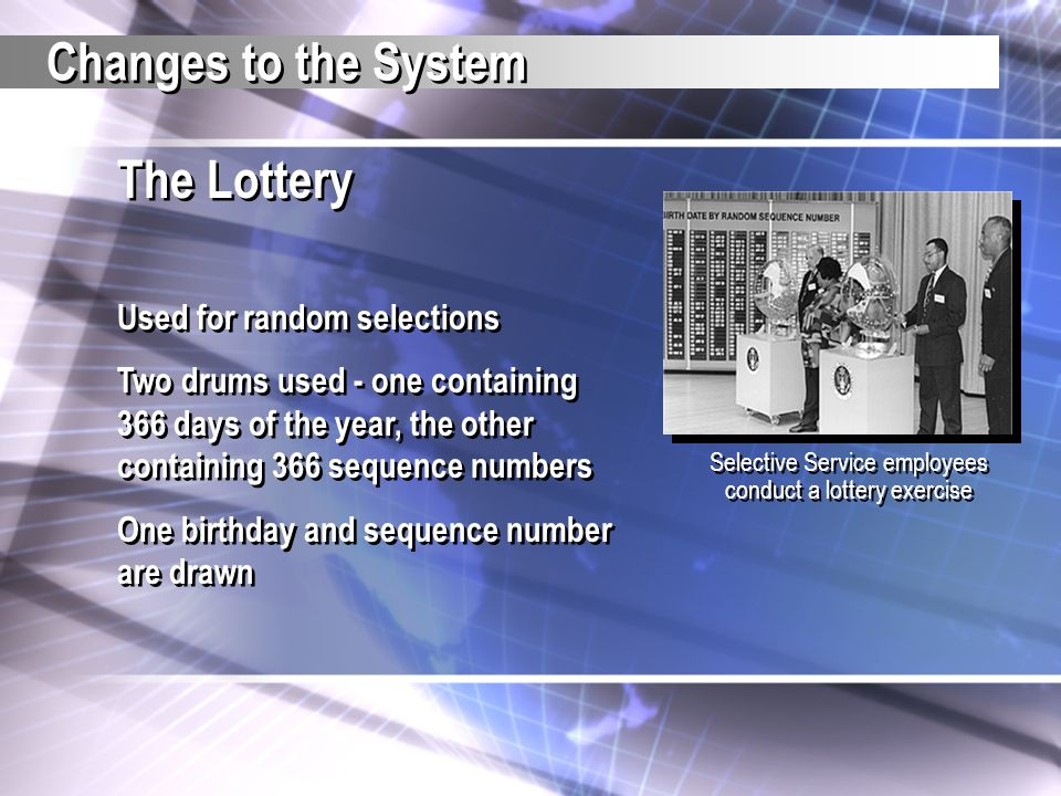 Selective Service employees conduct a lottery exercise