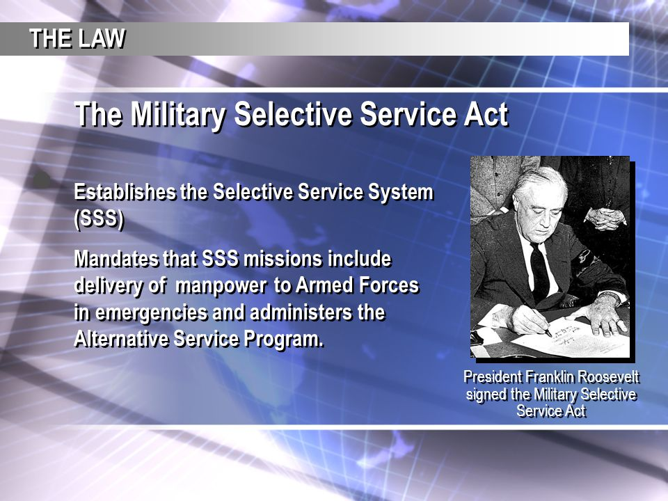 The Military Selective Service Act