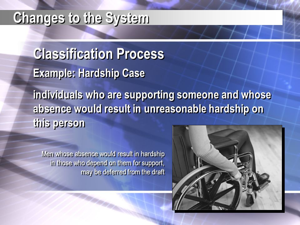 Classification Process Example: Hardship Case