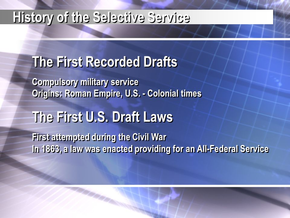 History of the Selective Service