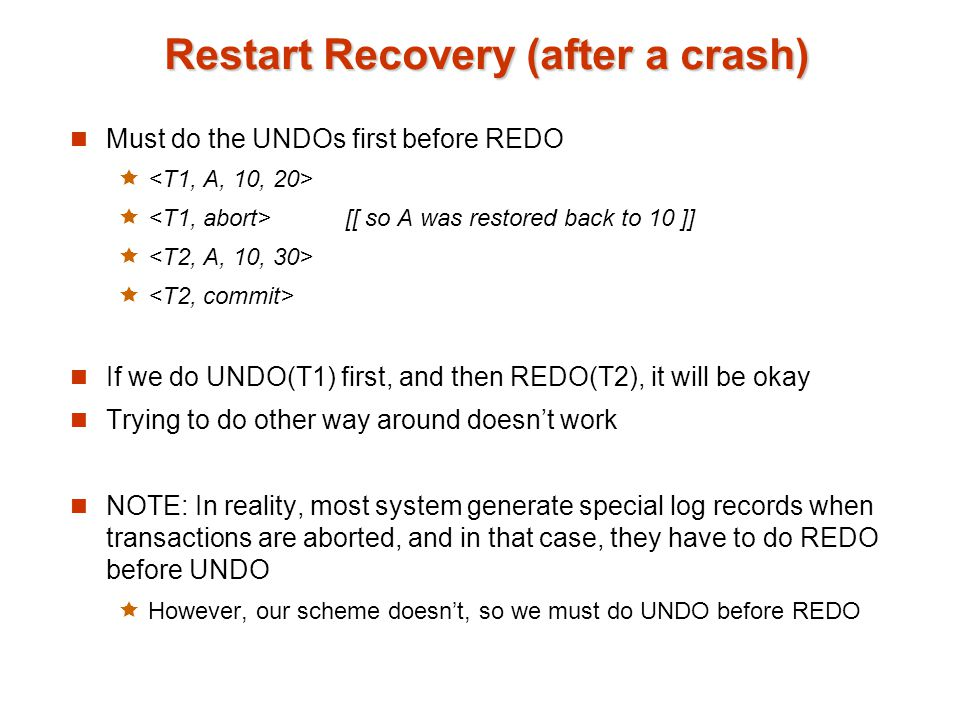 Restart Recovery (after a crash)