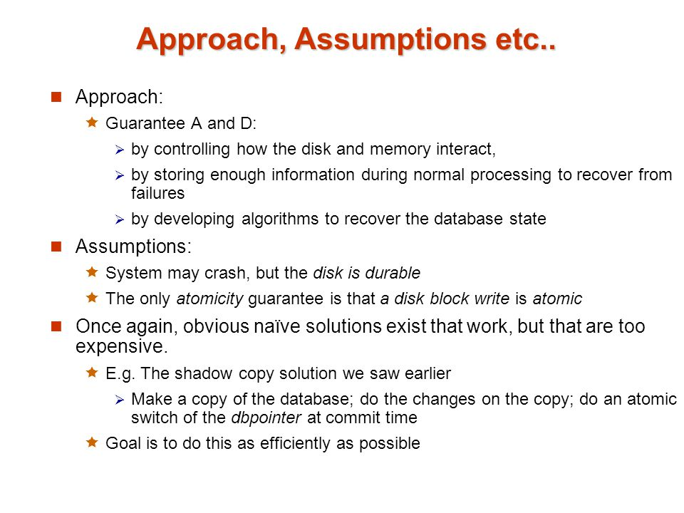 Approach, Assumptions etc..