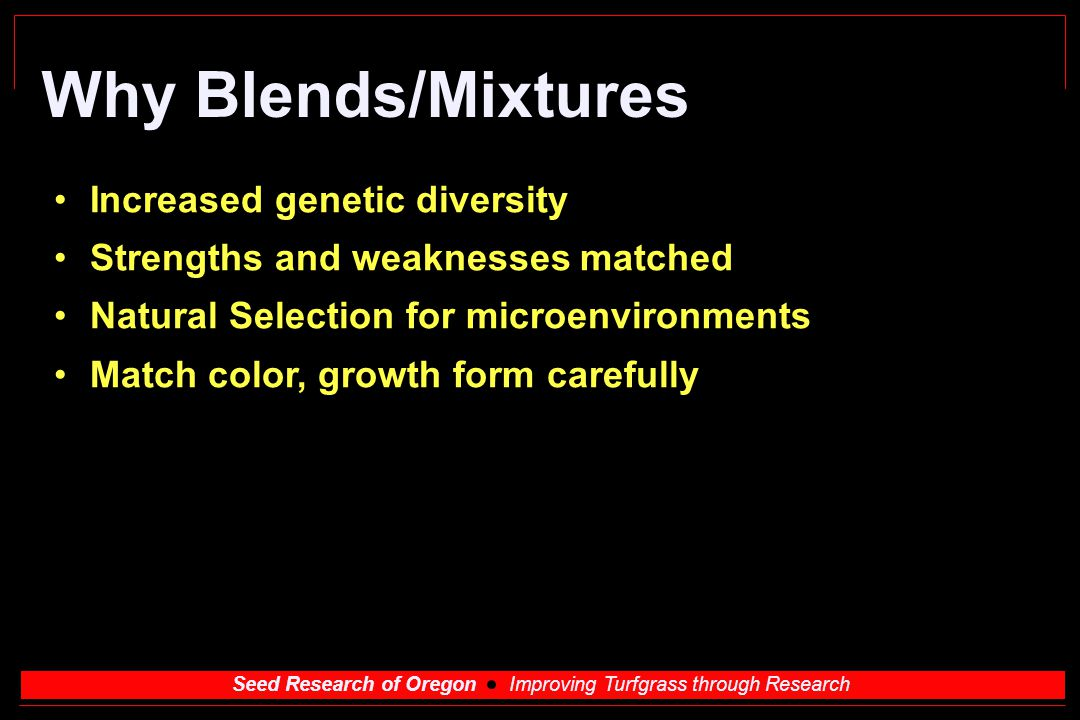 Why Blends/Mixtures Increased genetic diversity