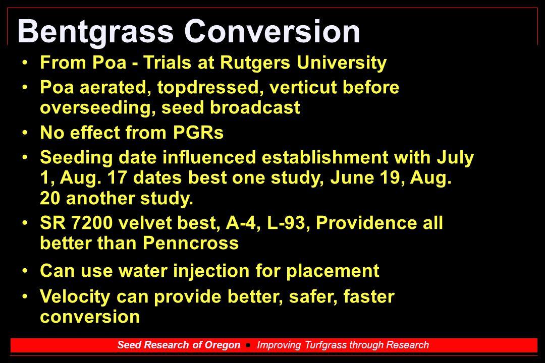 Bentgrass Conversion From Poa - Trials at Rutgers University