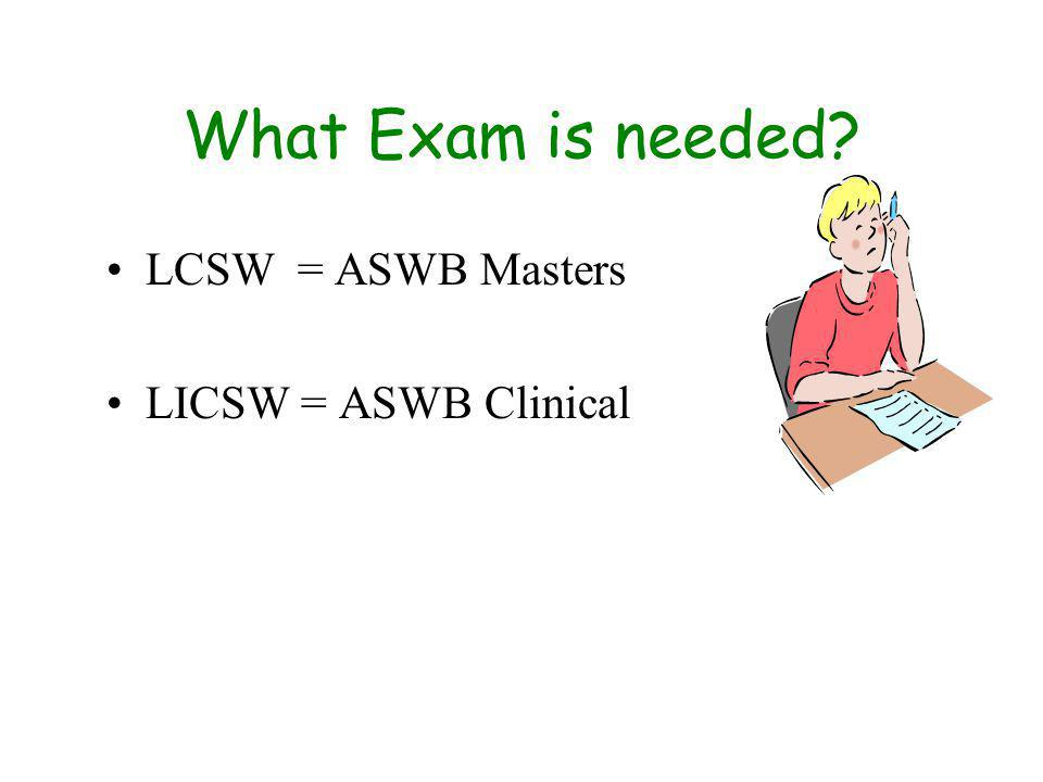 What Exam is needed LCSW = ASWB Masters LICSW = ASWB Clinical