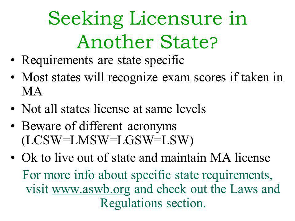 Seeking Licensure in Another State