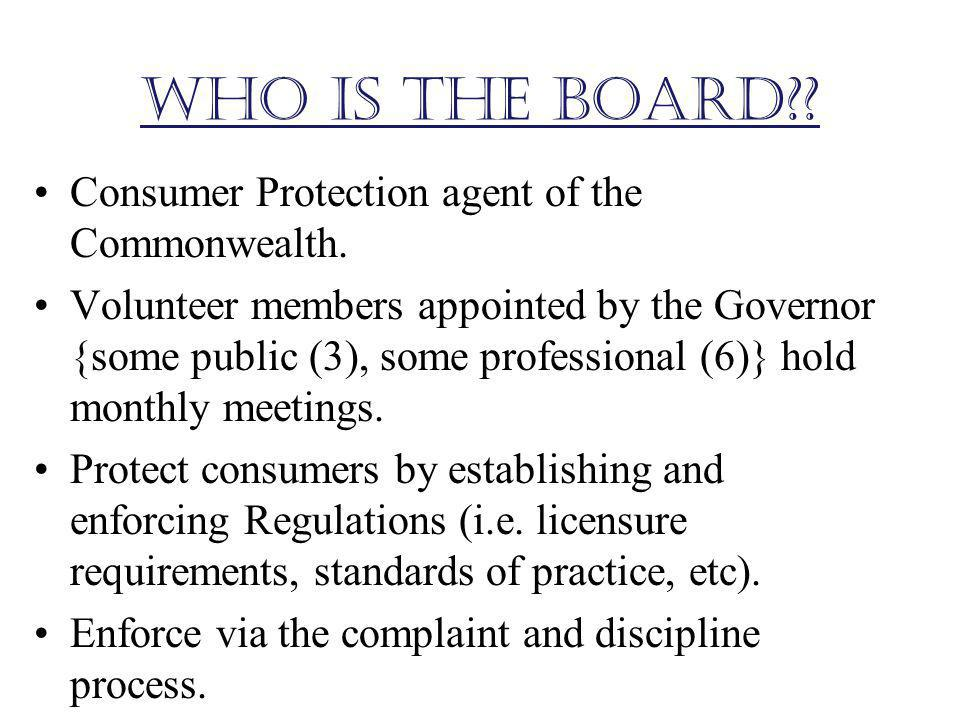 Who is the Board Consumer Protection agent of the Commonwealth.
