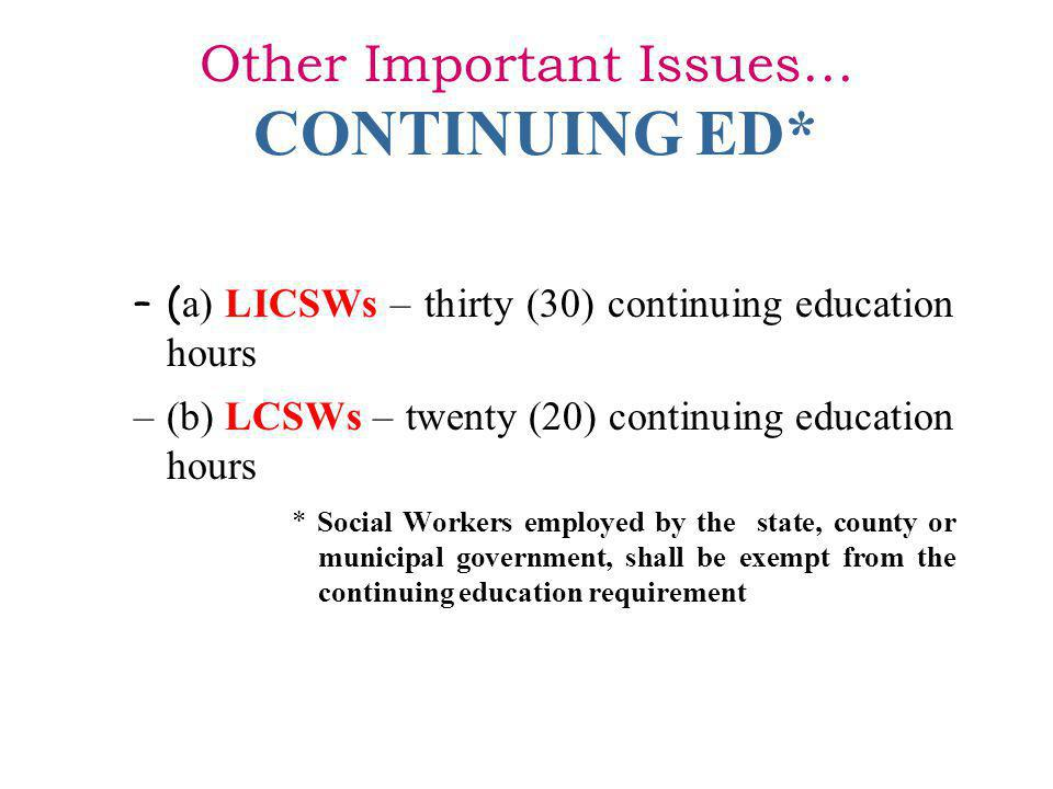 Other Important Issues… CONTINUING ED*