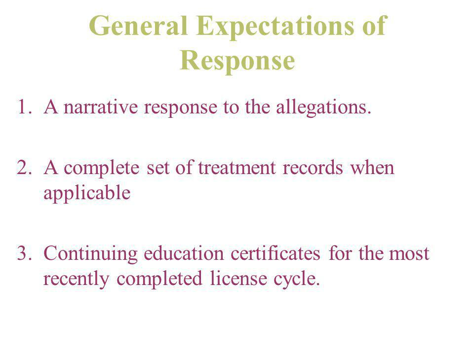 General Expectations of Response