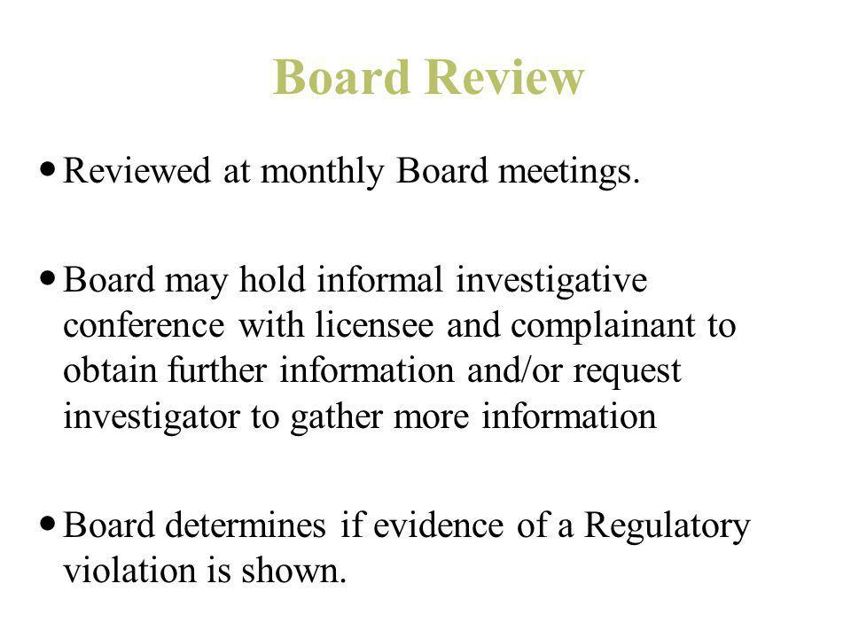 Board Review Reviewed at monthly Board meetings.