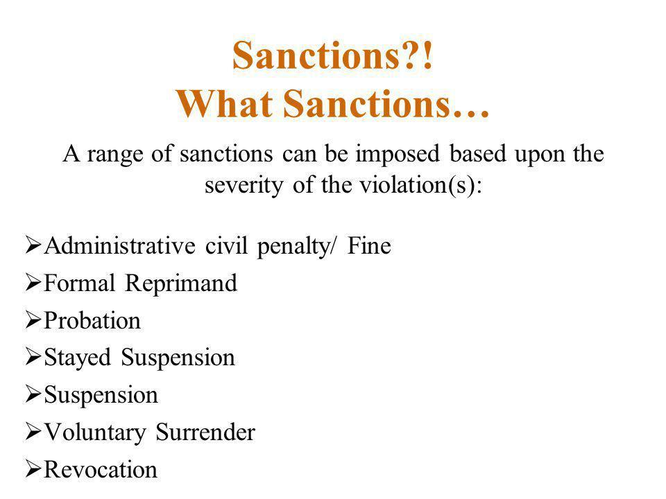 Sanctions ! What Sanctions…