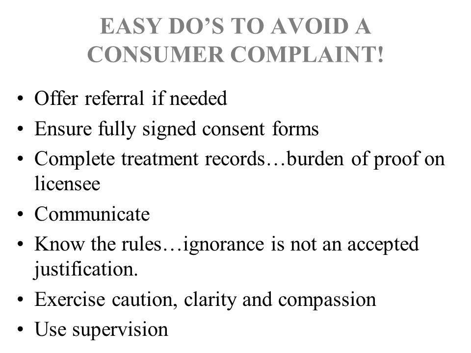 EASY DO'S TO AVOID A CONSUMER COMPLAINT!