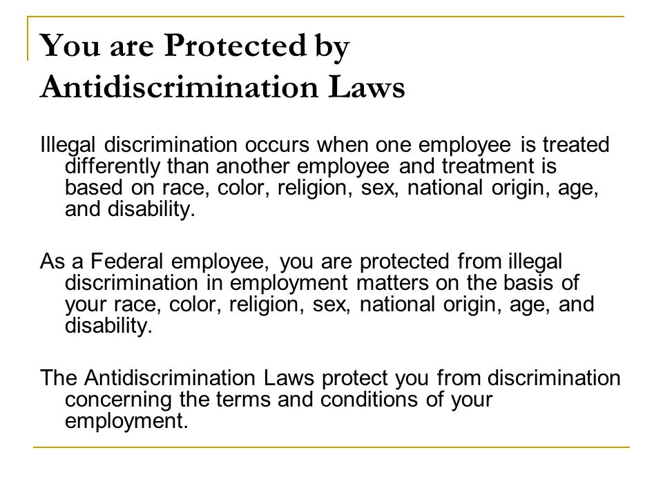 You are Protected by Antidiscrimination Laws