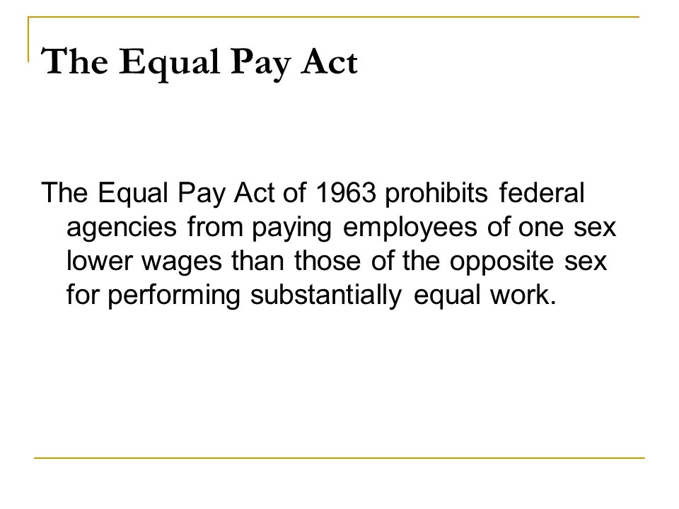 The Equal Pay Act