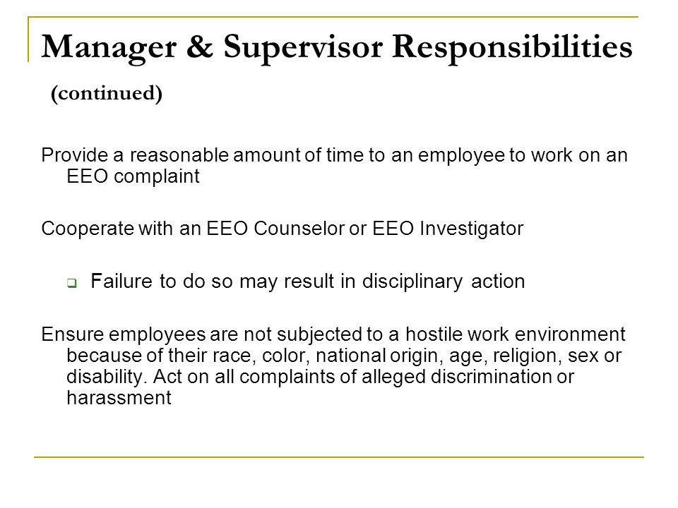 Manager & Supervisor Responsibilities (continued)