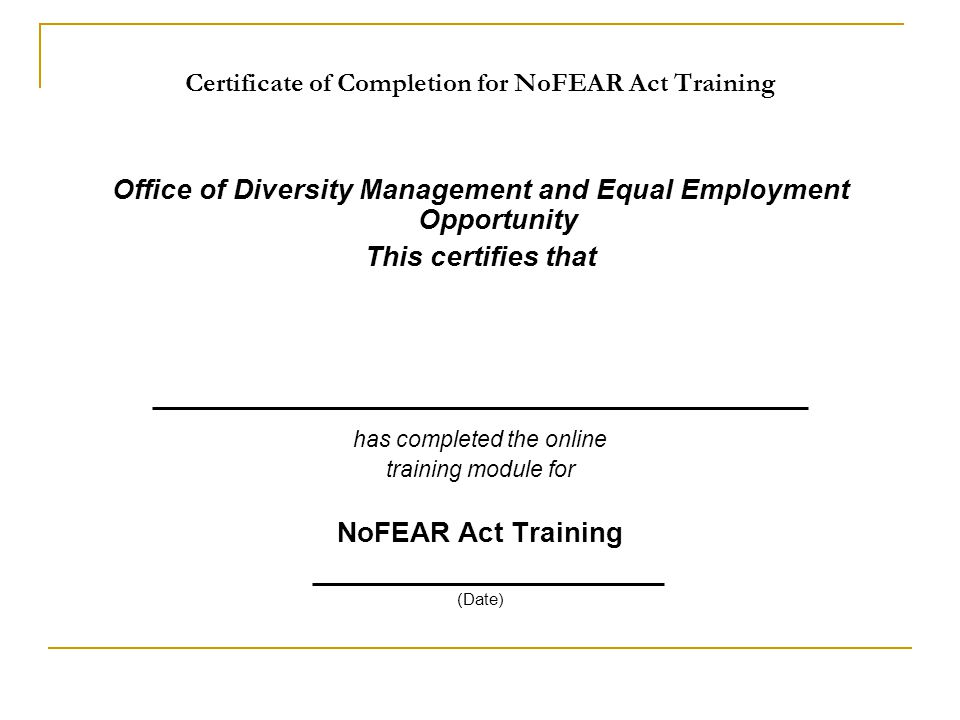 Certificate of Completion for NoFEAR Act Training
