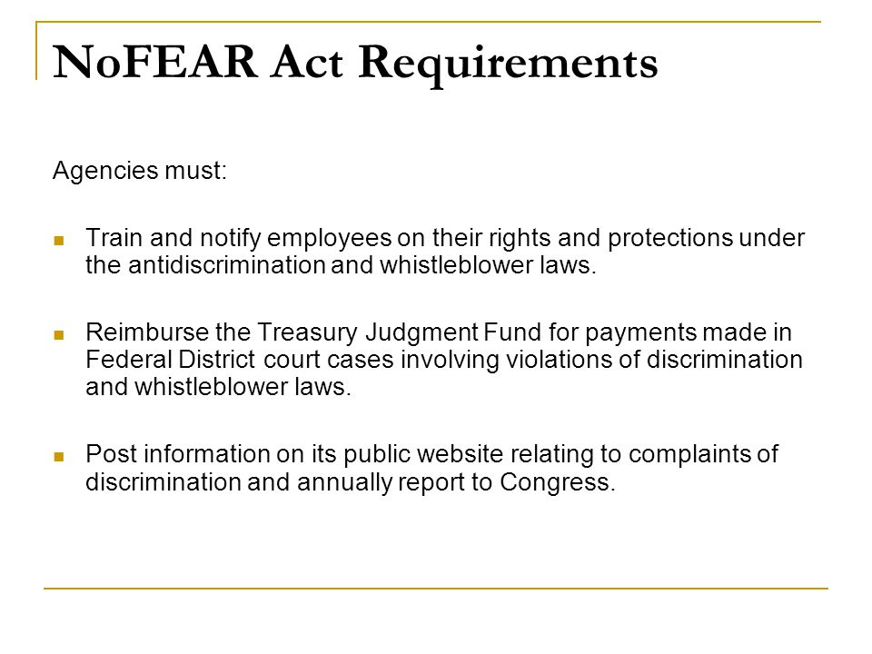 NoFEAR Act Requirements