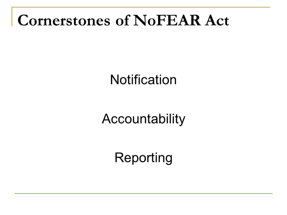 Cornerstones of NoFEAR Act